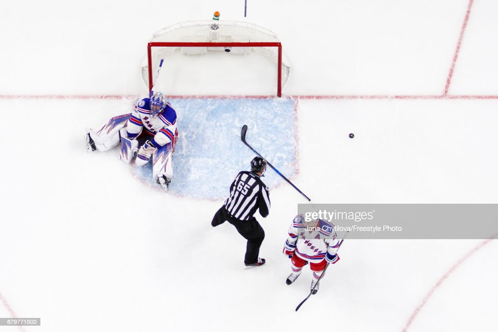 Henrik Lundqvist #30 and Derek Stepan #21 of the New York Rangers react after allowing the game tying goal by Derick Brassard #19 (not shown) of the Ottawa Senators in Game Five of the Eastern Conference Second Round during the 2017 NHL Stanley Cup Playoffs at Canadian Tire Centre on May 6, 2017 in Ottawa, Ontario, Canada.