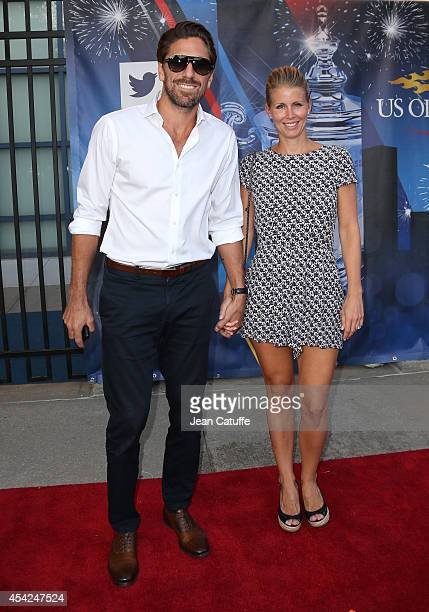 Henrik Lundqvist and his wife Therese Andersson attend Day 2 of the 2014 US Open at USTA Billie Jean King National Tennis Center on August 26 2014 in...