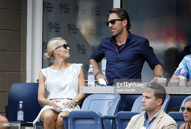 Henrik Lundqvist and his wife Therese Andersson Lundqvist attend day three of the 2015 US Open at USTA Billie Jean King National Tennis Center on...