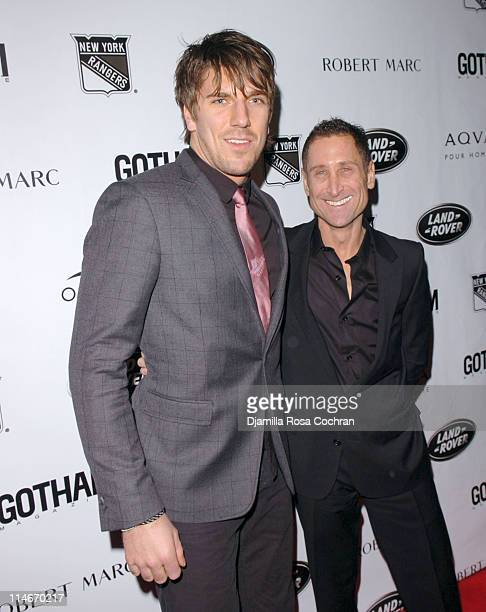 Henrik Lundqvist and Robert Marc during New York Rangers Host Gotham Magazines Issue Release Party at The Hiro Ballroom in New York City New York...