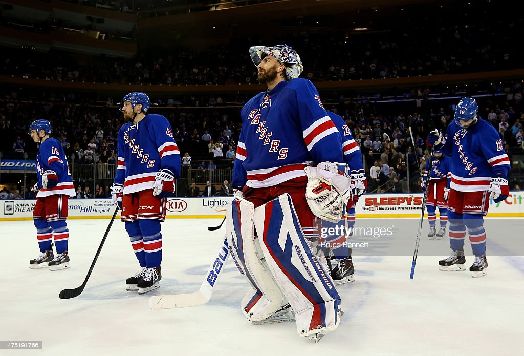 Henrik Lundqvist #30 and the New York Rangers looks on after losing against the Tampa Bay Lightning by a score of 2-0 in Game Seven of the Eastern Conference Finals during the 2015 NHL Stanley Cup Playoffs at Madison Square Garden on May 29, 2015 in New York City.