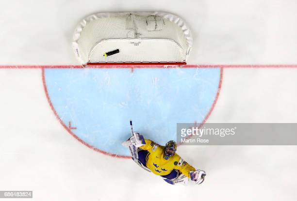 Henrik Lundqvist goaltender of Sweden celebrates after the 2017 IIHF Ice Hockey World Championship Gold Medal game Canada and Sweden at Lanxess Arena...