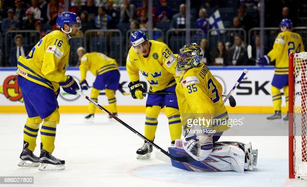 Henrik Lundqvist goaltender of Sweden reacts during the 2017 IIHF Ice Hockey World Championship semi final game between Sweden and Finland at Lanxess...