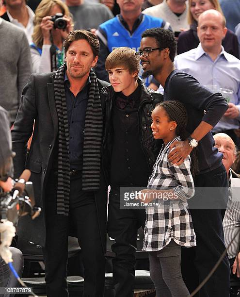 Henrik Lundqvist Justin Bieber Chris Rock and daughter attend the Dallas Mavericks vs New York Knicks game at Madison Square Garden on February 2...