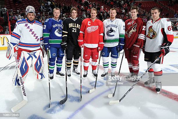 Henrik Lundqvist of New York Rangers Henrik Sedin of the Vancouver Canucks Loui Eriksson of the Dallas Stars Nicklas Lidstrom of the Detroit Red...