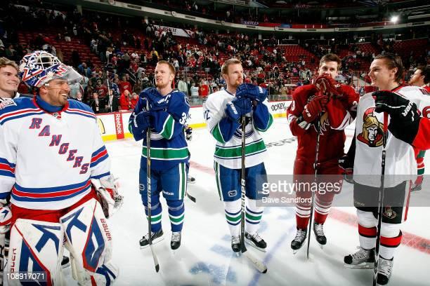 Henrik Lundqvist of New York Rangers Henrik Sedin of the Vancouver Canucks Daniel Sedin of the Vancouver Canucks Oliver EkmanLarsson of the Phoenix...