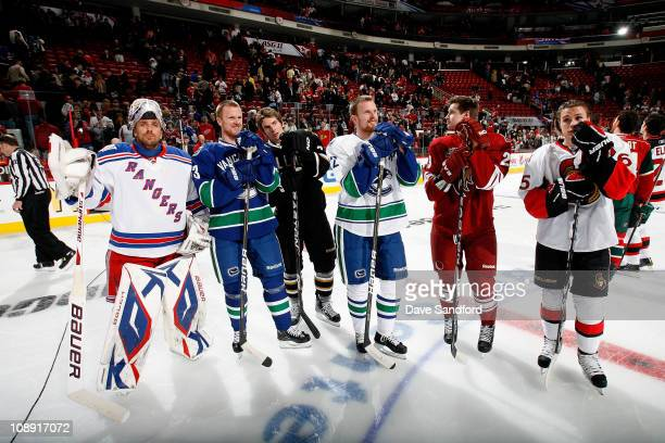 Henrik Lundqvist of New York Rangers Henrik Sedin of the Vancouver Canucks Loui Eriksson of the Dallas Stars Daniel Sedin of the Vancouver Canucks...