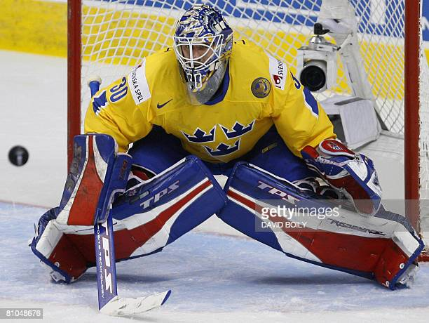 Henrik Lundqvist of Sweden watches the puck approaching in the first period during the qualification round at the 2008 IIHF World Championships on...