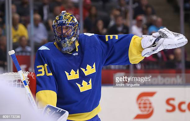 Henrik Lundqvist of Team Sweden guards the net against Team Finland during the World Cup of Hockey 2016 at Air Canada Centre on September 20 2016 in...