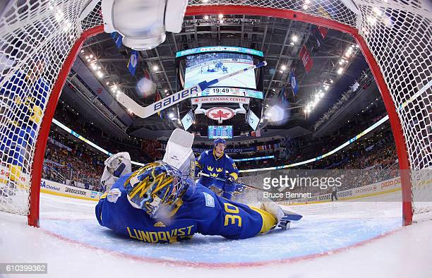 Henrik Lundqvist of Team Sweden loses his stick during a goal by Tomas Tatar of Team Europe during the third period at the semifinal game during the...