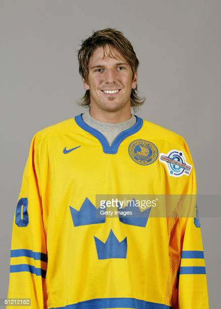 Henrik Lundqvist of Team Sweden poses for a portrait during camp at Globe Arena in Stockholm Sweden on August 19 2004