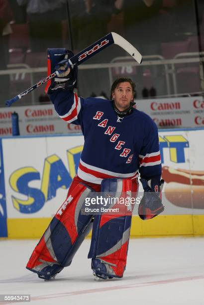 Henrik Lundqvist of the New York Rangers acknowledges the crowd ovation after earning his first career shutout against the the Florida Panthers 40 at...