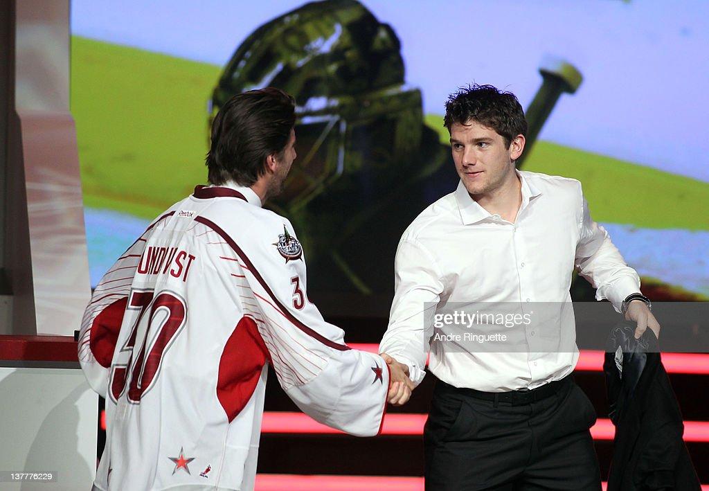 Henrik Lundqvist Of The New York Rangers And Team Alfredsson Shakes