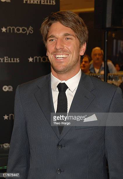 Henrik Lundqvist of the New York Rangers at Macy's Herald Square in New York City on November 27 2007