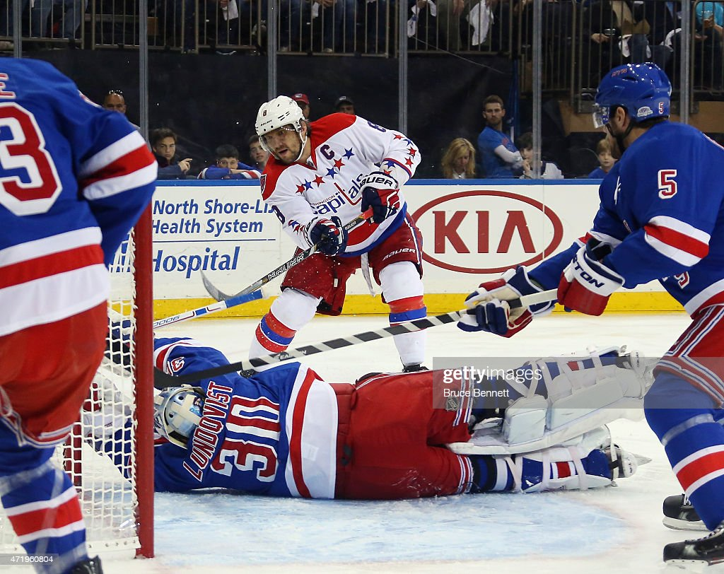 Henrik Lundqvist #30 of the New York Rangers blocks a shot by Alex Ovechkin #8 of the Washington Capitals during the first period in Game Two of the Eastern Conference Semifinals during the 2015 NHL Stanley Cup Playoffs at Madison Square Garden on May 2, 2015 in New York City.
