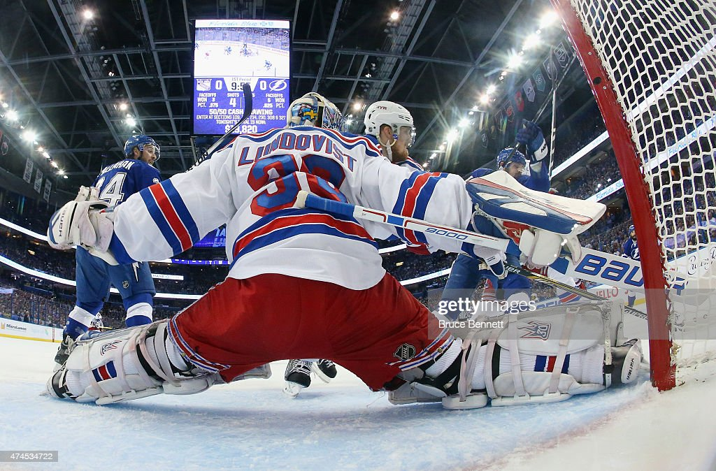 Henrik Lundqvist #30 of the New York Rangers blocks the net against the Tampa Bay Lightning in Game Four of the Eastern Conference Finals during the 2015 NHL Stanley Cup Playoffs at Amalie Arena on May 22, 2015 in Tampa, Florida. The Rangers defeated the Lighjtning 5-1.
