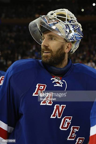 Henrik Lundqvist of the New York Rangers celebrates after defeating the Montreal Canadiens in Game Six to win the Eastern Conference Final in the...