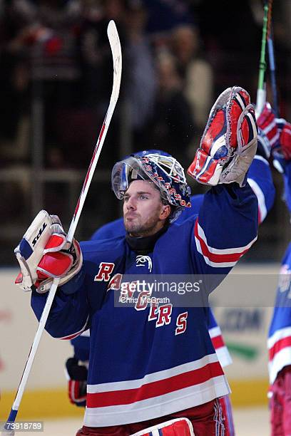 Henrik Lundqvist of the New York Rangers celebrates after defeating the Atlanta Thrashers 42 to win the 2007 Eastern Conference Quarterfinals four...