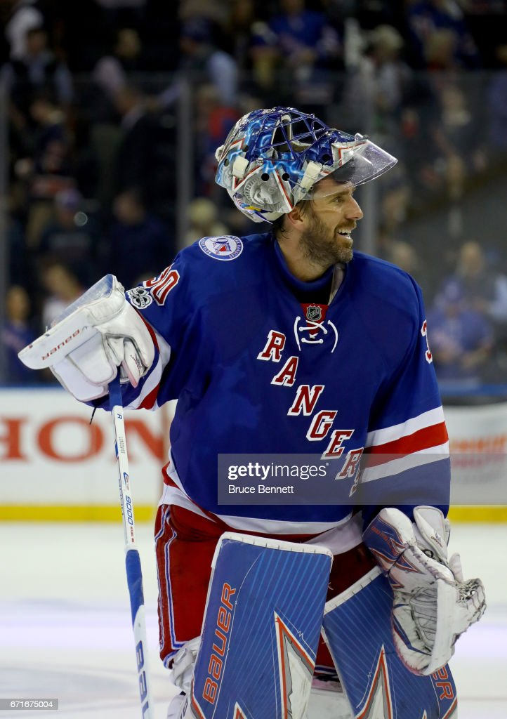 Henrik Lundqvist #30 of the New York Rangers celebrates defeating the Montreal Canadiens in Game Six of the Eastern Conference to win the First Round with a score of 3 to 1 during the 2017 NHL Stanley Cup Playoffs at Madison Square Garden on April 22, 2017 in New York City.
