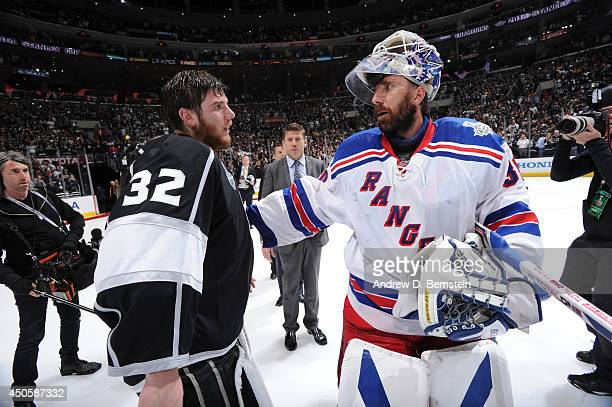 Henrik Lundqvist of the New York Rangers congratulates Jonathan Quick of the Los Angeles Kings after Game Five of the 2014 NHL Stanley Cup Final at...