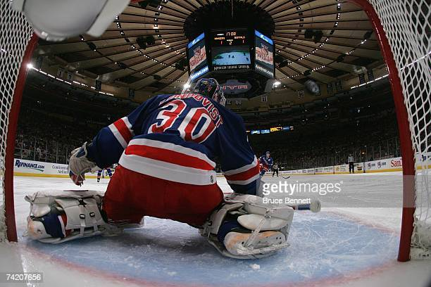Henrik Lundqvist of the New York Rangers defends the net against the Buffalo Sabres in Game Six of the 2007 Eastern Conference Semifinals on May 6...