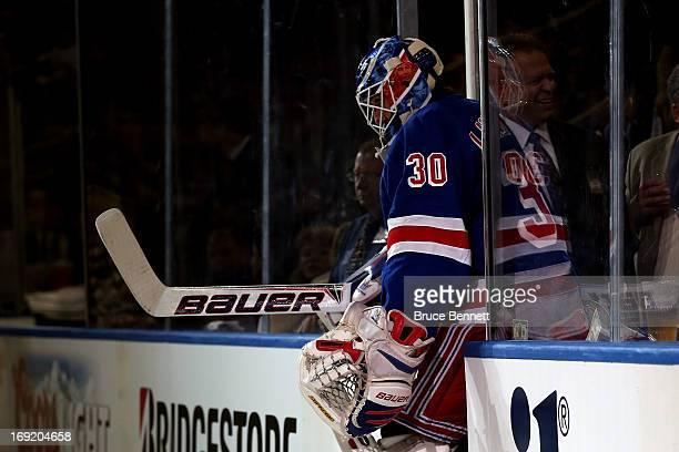 Henrik Lundqvist of the New York Rangers enters the ice prior to Game Three of the Eastern Conference Semifinals against the Boston Bruins during the...