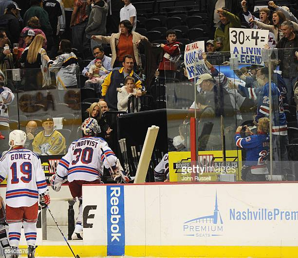 Henrik Lundqvist of the New York Rangers is cheered by fans after defeating the Nashville Predators on March 12 2009 at the Sommet Center in...