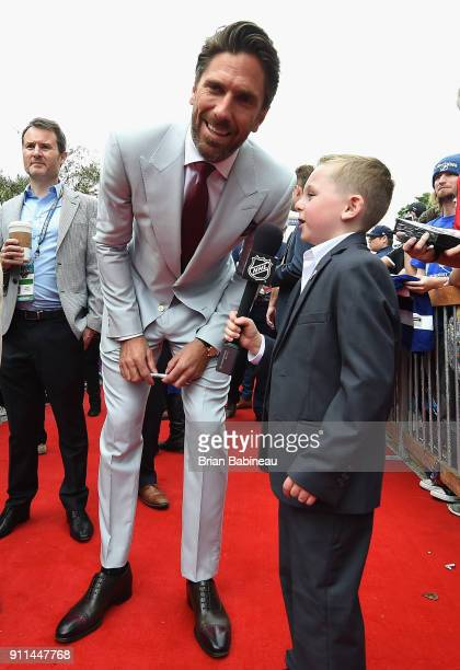 Henrik Lundqvist of the New York Rangers is interviewed on the red carpet prior to playing in the 2018 Honda NHL AllStar Game at Amalie Arena on...