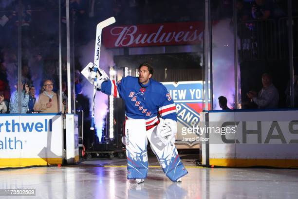 Henrik Lundqvist of the New York Rangers is introduced to the crowd during a pregame ceremony prior to the game against the Winnipeg Jets at Madison...