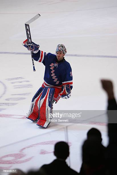 Henrik Lundqvist of the New York Rangers is named the second star of the game after his 10 overtime shutout of the New Jersey Devils on December 9...