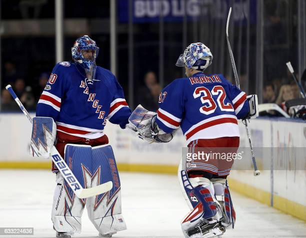 Henrik Lundqvist of the New York Rangers is pulled from the game and replaced by Antti Raanta in the second period against the Columbus Blue Jackets...