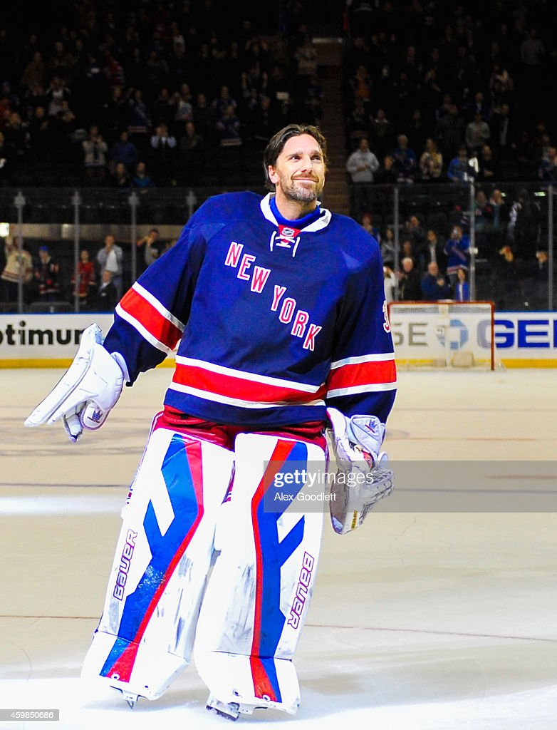 Henrik Lundqvist #30 of the New York Rangers looks on after a game against the Montreal Canadiens at Madison Square Garden on November 23, 2014 in New York City.