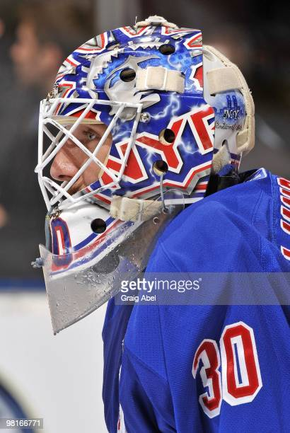 Henrik Lundqvist of the New York Rangers looks on during a break in the game against the Toronto Maple Leafs on March 27, 2010 at the Air Canada...