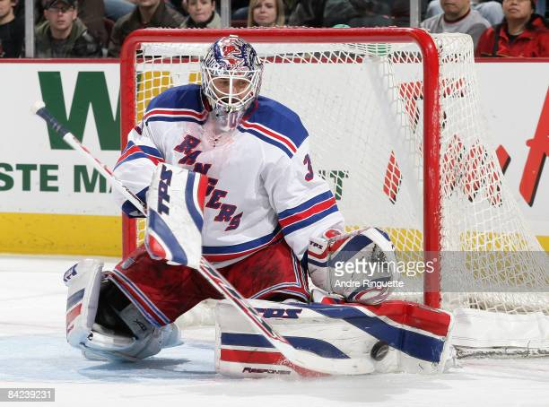 Henrik Lundqvist of the New York Rangers makes a pad save against the Ottawa Senators on his way to a shutout at Scotiabank Place on January 10 2009...