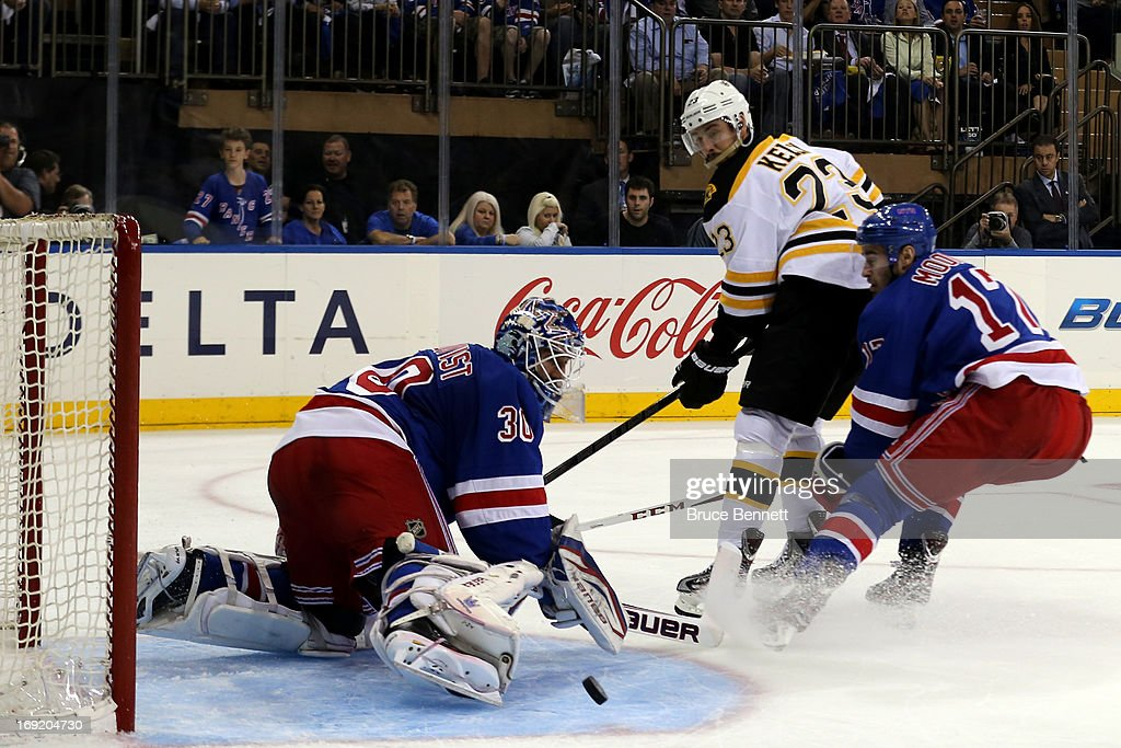 Henrik Lundqvist #30 of the New York Rangers makes a save against the Boston Bruins in Game Three of the Eastern Conference Semifinals during the 2013 NHL Stanley Cup Playoffs at Madison Square Garden on May 21, 2013 in New York City.