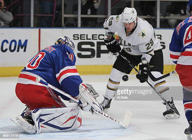 Henrik Lundqvist of the New York Rangers makes a save off of a shot by Steve Ott of the Dallas Stars during their game on January 6 2010 at Madison...