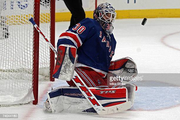 Henrik Lundqvist of the New York Rangers makes save against the Buffalo Sabres in Game Four of the 2007 Eastern Conference Semifinals on May 1 2007...