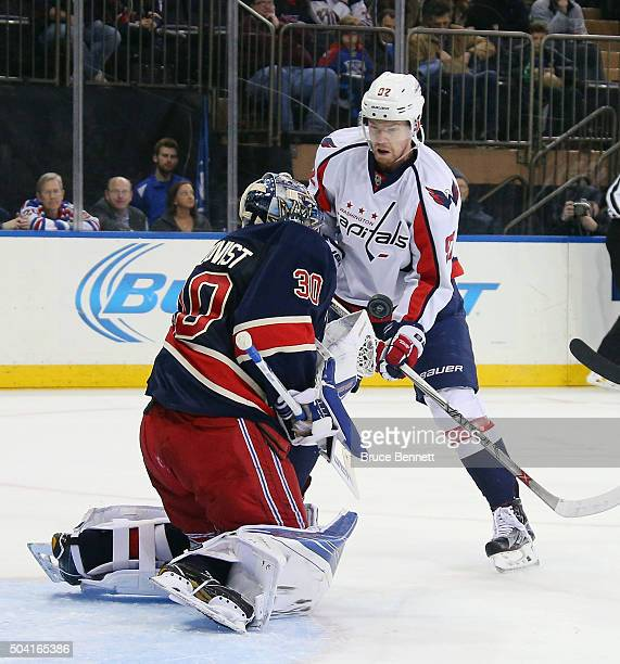 Henrik Lundqvist of the New York Rangers makes the first period save on Evgeny Kuznetsov of the Washington Capitals at Madison Square Garden on...
