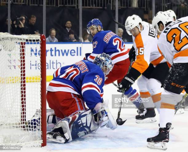 Henrik Lundqvist of the New York Rangers makes the first period save on Jori Lehtera of the Philadelphia Flyers at Madison Square Garden on January...
