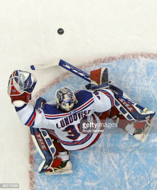 Henrik Lundqvist of the New York Rangers makes the save against the New York Islanders in route to a 30 shutout win on April 3 2008 at the Nassau...