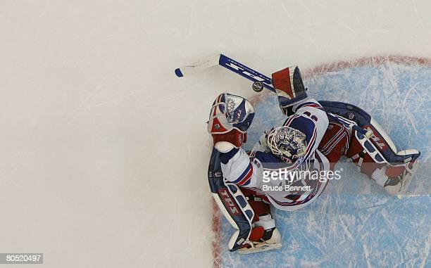 Henrik Lundqvist of the New York Rangers makes the save against the New York Islanders during a 30 shutout win on April 3 2008 at the Nassau Coliseum...