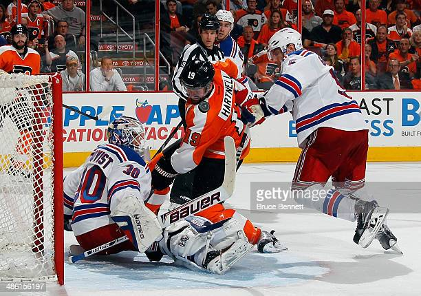 Henrik Lundqvist of the New York Rangers makes the second period stop on Scott Hartnell of the Philadelphia Flyers in Game Three of the First Round...
