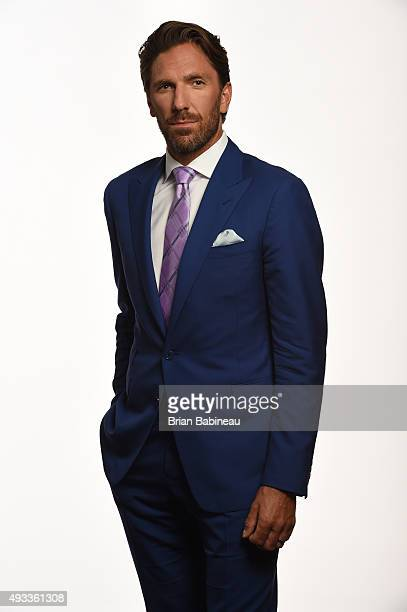 Henrik Lundqvist of the New York Rangers poses for pictures at the NHL Player Media Tour at the Ritz Carlton on September 9 2015 in Toronto Ontario