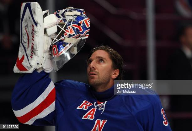 Henrik Lundqvist of the New York Rangers prepares to play against of the Washington Capitals during their preseason game on September 24, 2009 at...