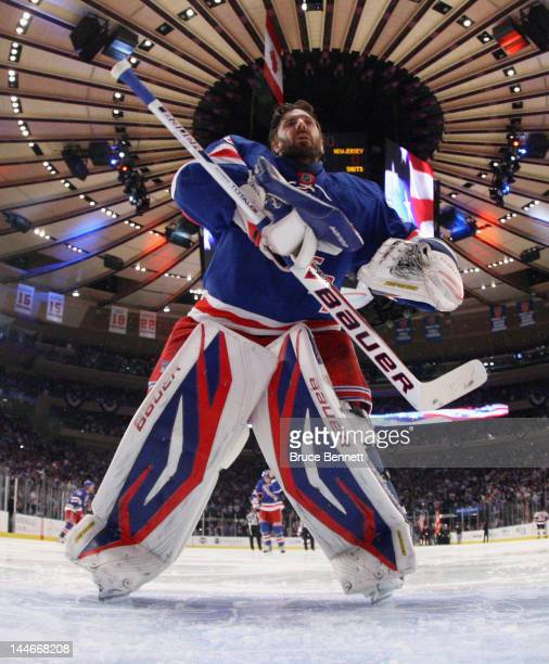 Henrik Lundqvist of the New York Rangers prepares to tend net against the New Jersey Devils in Game Two of the Eastern Conference Final during the...