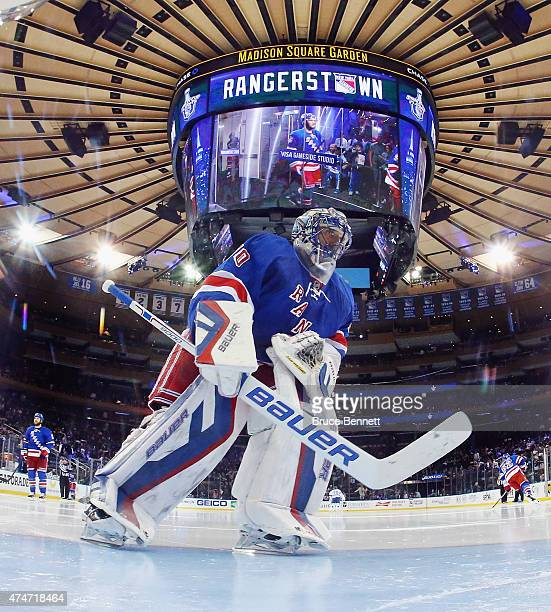 Henrik Lundqvist of the New York Rangers prepares to tends net in the second period against the Tampa Bay Lightning in Game Five of the Eastern...