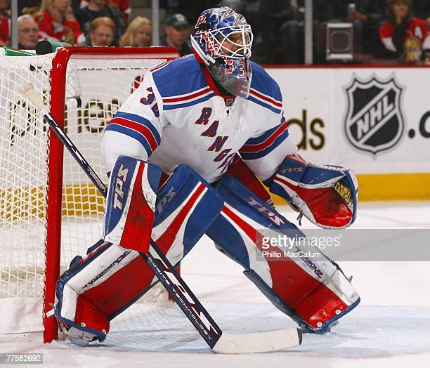 Henrik Lundqvist of the New York Rangers protects the goal during the NHL game against the Ottawa Senators at the Scotiabank Place on October 6 2007...