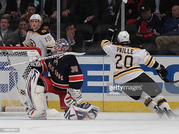 Henrik Lundqvist of the New York Rangers reacts after giving up a goal to Tyler Seguin of the Boston Bruins during their game on November 17 2010 at...