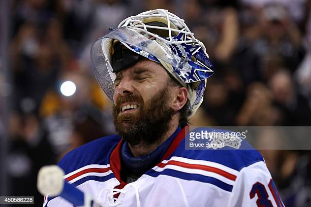 Henrik Lundqvist of the New York Rangers reacts after giving up the game-winning goal to Alec Martinez of the Los Angeles Kings in double overtime...