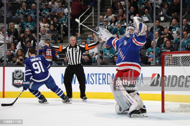 Henrik Lundqvist of the New York Rangers reacts to winning the Ticketmaster NHL Save Streak during the 2019 SAP NHL All-Star Skills at SAP Center on...
